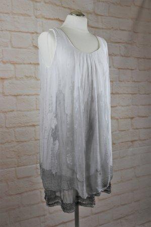 Zartes Hängerchen Tunika Kleid Seide Sommerkleid Größe 36 Batik Weiß Grau Seidenkleid Viskose