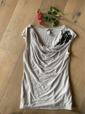 H&M Top col bénitier gris brun