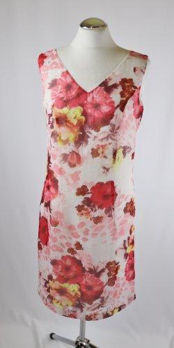 Zartes Sommerkleid  Kleid Maxi La Rochelle Größe 36 38 M Blumen Weiß Rot Rosa Etuikleid Blüten Muster  Slipdress V-Neck