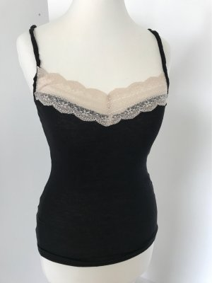 H&M Top di merletto crema-nero Cotone
