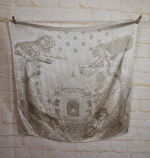 Zartes Vintage Seidentuch Escada Hell Creme Beige Grau Greige Tiger Stadt Tempel Moschee  Carré aus Seide
