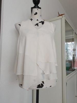 H&M Top z falbanami w kolorze białej wełny-kremowy