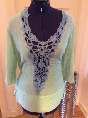 Kanten blouse turkoois-neon blauw Katoen