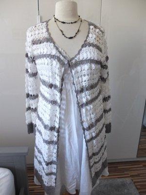 Simclan Płaszcz z dzianiny biały-szary Bawełna