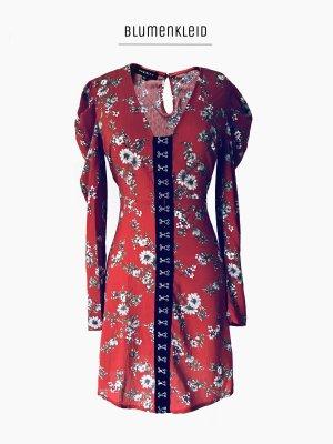 Zauberhaftes Kleid mit Blumen in Fuchsrot mit zierverschluss & Puffärmel / parisian / 40