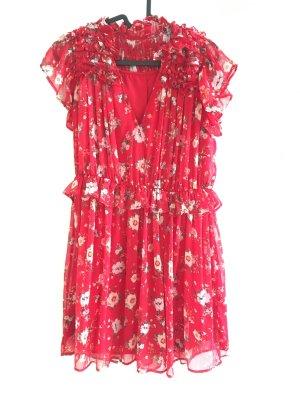 Zauberhaftes rotes Kleid von Zara - Mit Blumenmuster und Rüschen