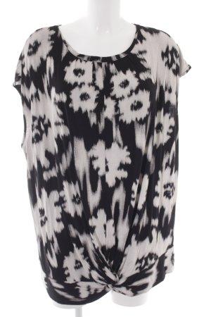 ZAY Clothing Blusentop schwarz-weiß abstraktes Muster Casual-Look