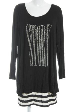 ZAY Clothing Langarmkleid schwarz-creme Paillettenverzierung