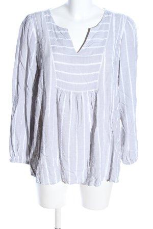 ZAY Clothing Schlupf-Bluse hellgrau-weiß Streifenmuster Casual-Look