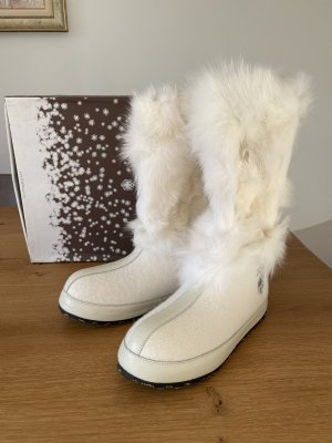 ZDAR Fur Boots natural white