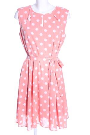zeagoo Vestido bustier rosa-blanco estampado a lunares look casual