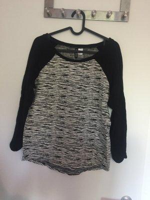 Zebra Optik Pullover mit schwarzen 3/4 Armen