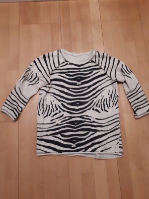 Friendtex Crewneck Sweater white-black cotton