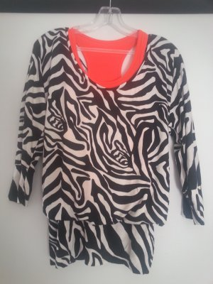 Zebra Shirt Tunika mit Neon Top Gr. S