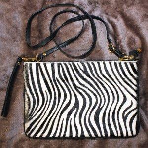 Zebra Tasche/Clutch aus Leder und echtem Fell