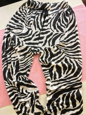 Pantalon large blanc-noir coton