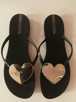 Ipanema High-Heeled Toe-Post Sandals black-silver-colored