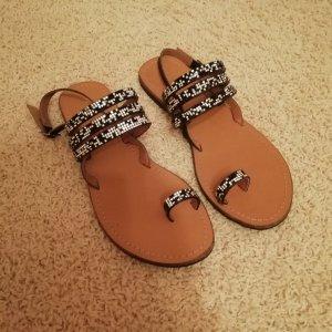 Manoukian Toe-Post sandals black-silver-colored