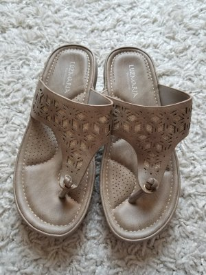 Sandalo toe-post oro-marrone-grigio