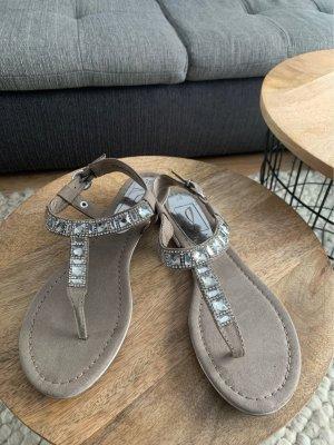 van der Laan High-Heeled Toe-Post Sandals grey-silver-colored