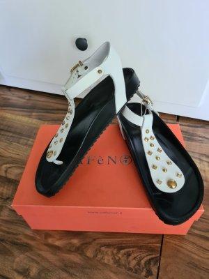 Cafènoir Toe-Post sandals white-black