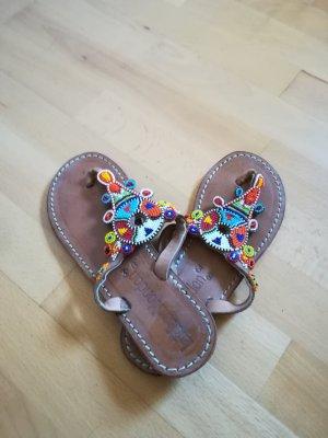 Sandalias con talón descubierto marrón claro Cuero