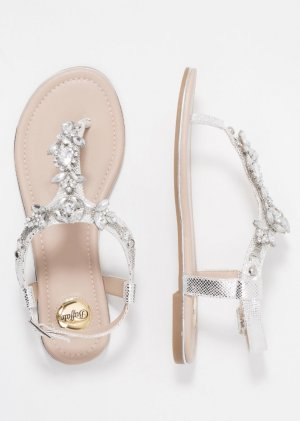 Buffalo High-Heeled Toe-Post Sandals silver-colored-light grey