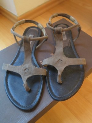 Sandalias con talón descubierto gris verdoso-negro Gamuza