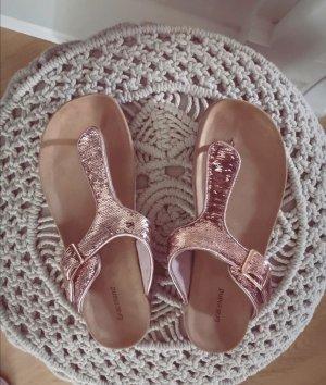 Zehentrenner Sandalen Flip Flops 38 rosa rosegold Pailletten Glitzer blogger hipster boho