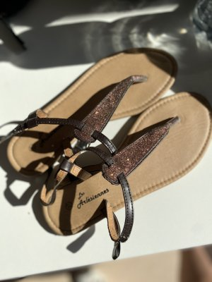 Sandalo toe-post marrone-marrone-nero