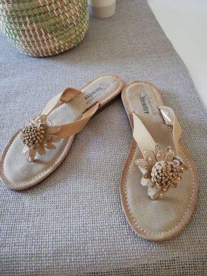 Sandalo toe-post beige Pelle