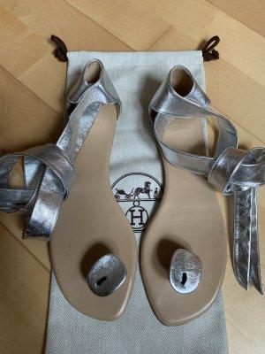 Hermès Flip-Flop Sandals silver-colored