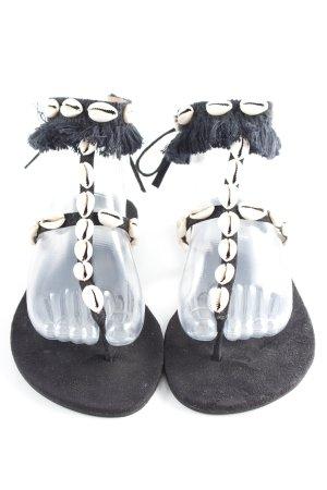 Zehentrenner-Sandalen schwarz-creme Applikation