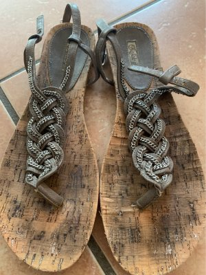 Buffalo Sandalo toe-post argento-marrone chiaro