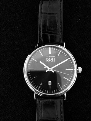 cerruti 1881 Zegarek ze skórzanym paskiem czarny-srebrny Skóra