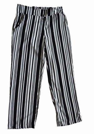 Takko Fashion Pantalon taille haute blanc-noir polyester