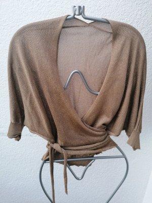 Gilet tricoté doré-gris brun