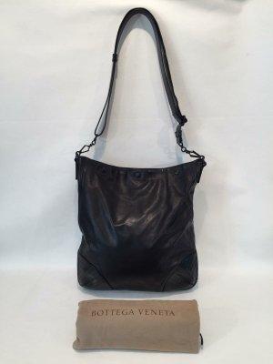 Zeitlose Bottega Veneta Designer Umhängetasche - schwarzes Leder