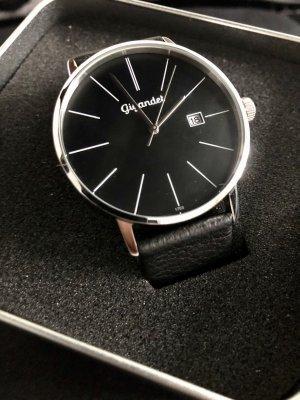 Gigandet Zegarek ze skórzanym paskiem czarny-srebrny Skóra