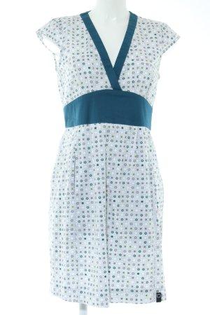 zergaktik Blusenkleid blau-weiß Allover-Druck Casual-Look