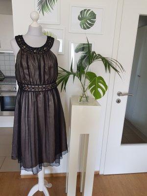 Zero Abendkleid mit Kontradtfutter Schwarz/nude