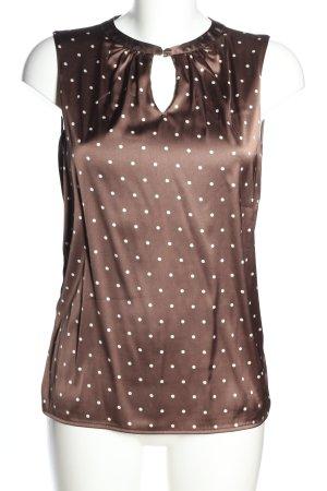 Zero ärmellose Bluse braun-weiß Punktemuster Casual-Look