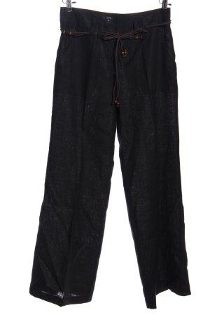 Zero Pantalón de lino negro look casual