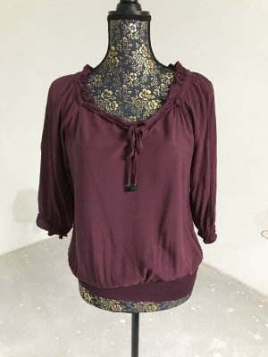 Zero Carmen blouse paars Gemengd weefsel