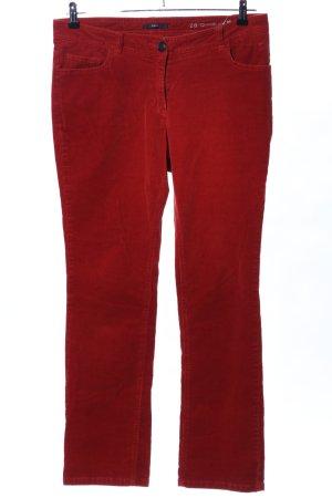 Zero Pantalon en velours côtelé rouge style décontracté