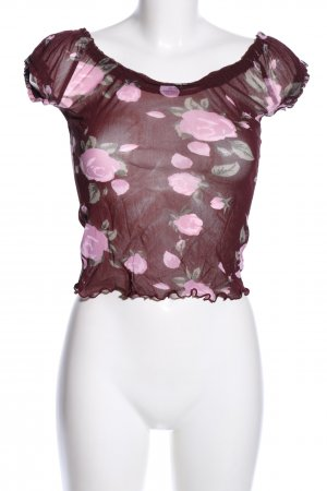 Zero Corsagen Top pink-braun Allover-Druck Casual-Look