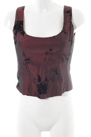 Zero Corsagen Top bordeauxrot-schwarz florales Muster Elegant