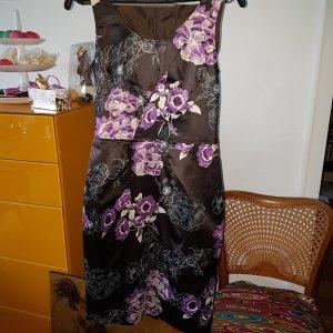 ZERO Etuikleid violett Satin Blumen Asia Gr.36/38