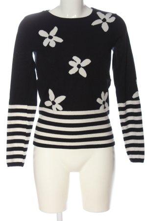 Zero Feinstrickpullover schwarz-wollweiß Blumenmuster Casual-Look