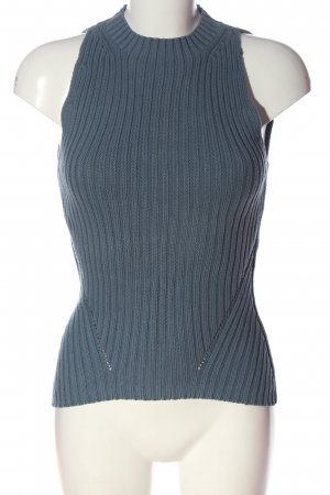 Zero Fine Knitted Cardigan blue cable stitch casual look